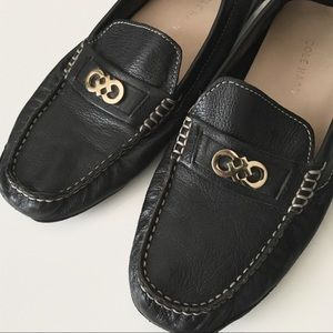 Cole Haan Black Shelby Logo Driver Loafers Flats